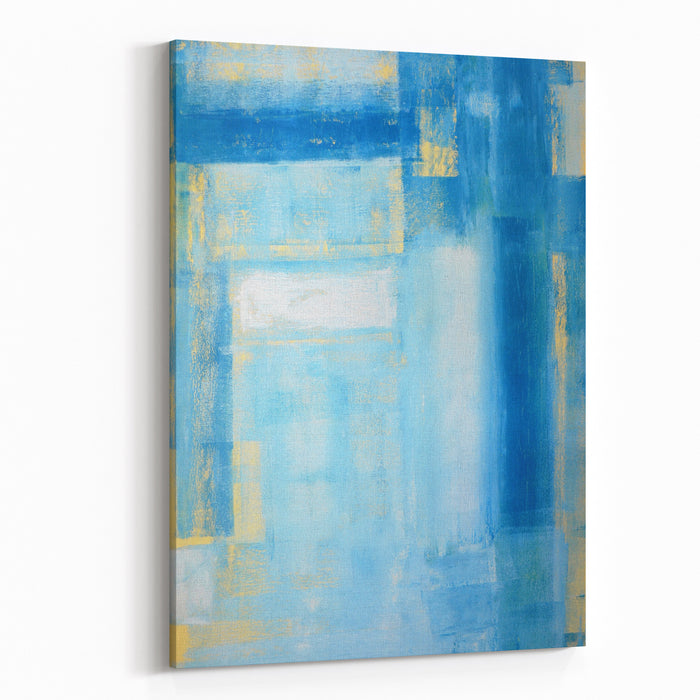 Teal And Yellow Abstract Art Painting Canvas Wall Art Print