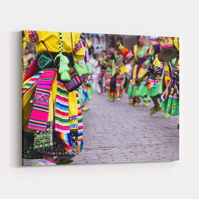 Peruvian Dancers At The Parade In Cusco Canvas Wall Art Print ...