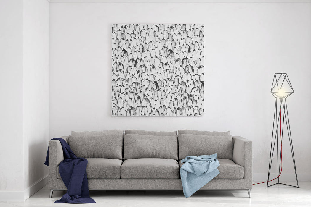 Crowd Of Penguins Seamless Gray Scale Illustration Canvas Wall Art Print