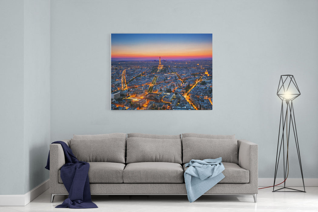 Paris, France At Sunset Aerial View On The Eiffel Tower, Arc De Triomphe, Les Invalides Etc Canvas Wall Art Print