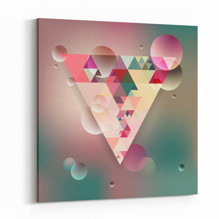 Abstract Geometric Background With Triangles Vector Illustration EPS Canvas Wall Art Print