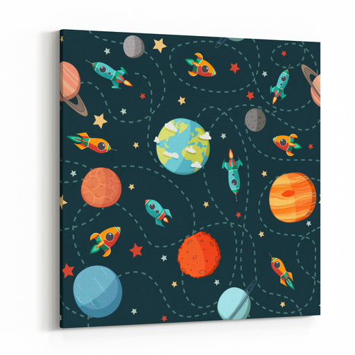 Seamless Space Pattern Planets, Rockets And Stars Cartoon Spaceship Icons Kids Elements For Scrapbooking Childish Background Hand Drawn Vector Illustration Canvas Wall Art Print