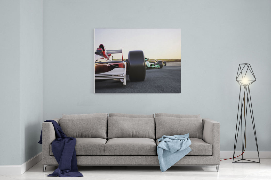 Red Race Car Close Up Front View On A Track Leading The Pack With Motion Blur High Resolution D Render Room For Text Or Copy Space Canvas Wall Art Print