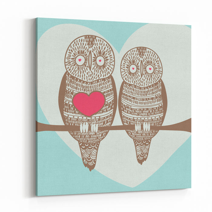 Wise Owl Couple On Tree Branch Under Heart Shaped Moon Canvas Wall Art Print