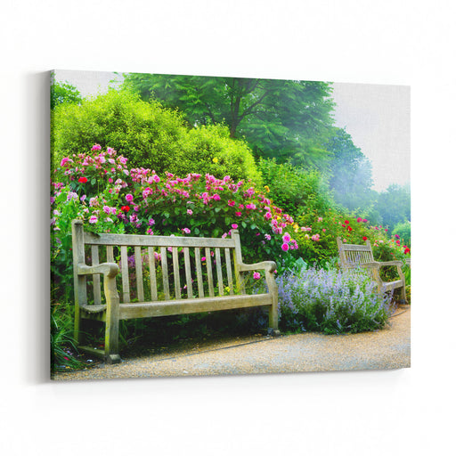 Art Bench And Flowers In The Morning In An English Park Canvas Wall Art Print