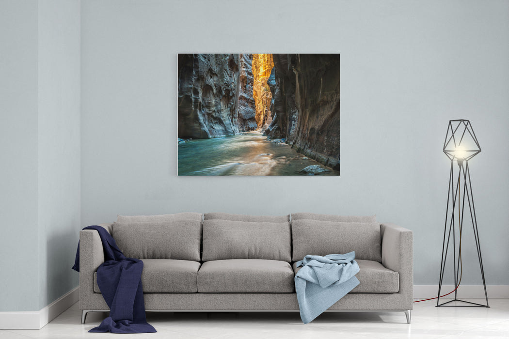 Wall Street  Virgin River, Zion National Park The Light At The End Of The Tunnel Canvas Wall Art Print
