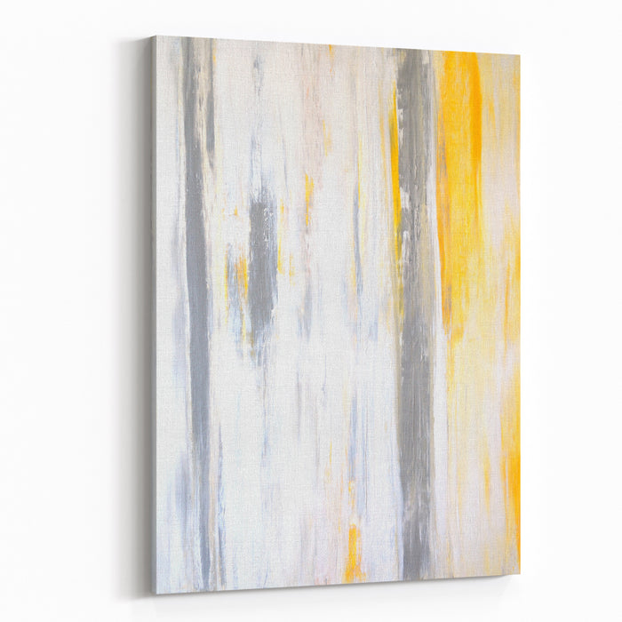 Grey And Yellow Abstract Art Painting Canvas Wall Print