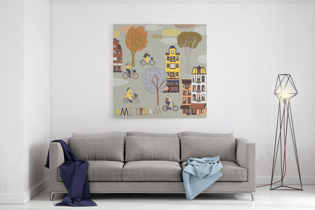 Amsterdam Print Design Canvas Wall Art Print