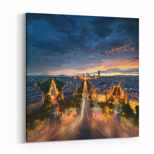 Amazing View To Night Paris Canvas Wall Art Print