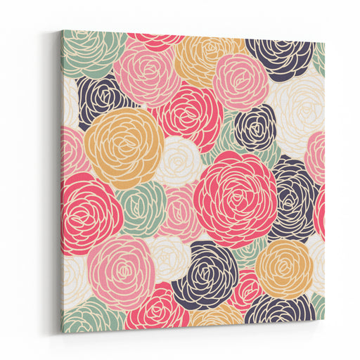 Vector Vintage Inspired Seamless Floral Pattern With Colorful Roses Canvas Wall Art Print