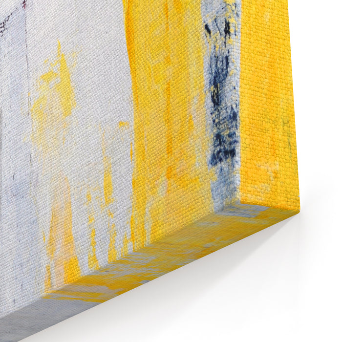 Grey And Yellow Abstract Art Painting Canvas Wall Art Print
