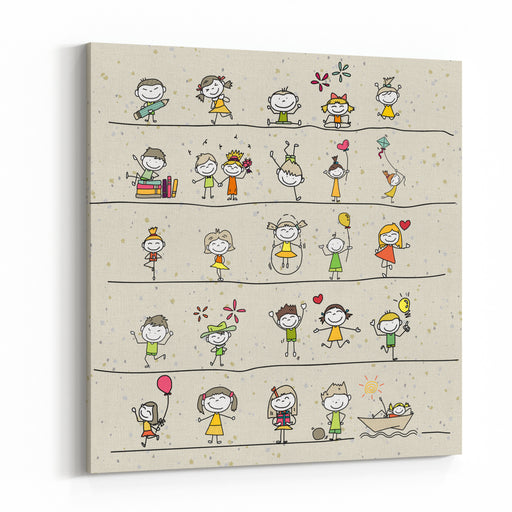 Hand Drawing Cartoon Happy Kids Playing Canvas Wall Art Print