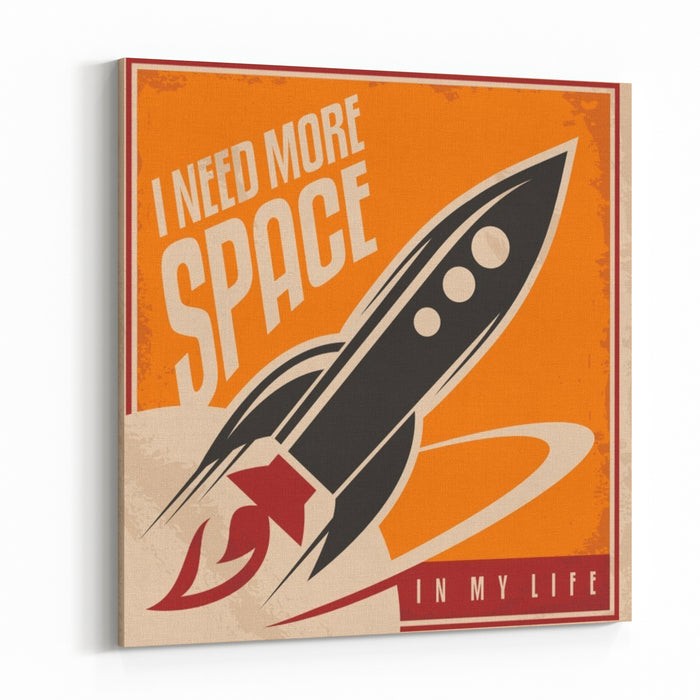 Creative Design Concept With Rocket And Space Vintage Artistic Image On Old Paper Texture Canvas Wall Art Print