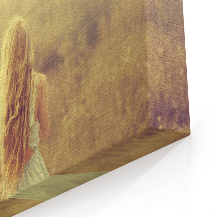Beautiful Young Blond Woman Enjoying The Fabulous Nature Canvas Wall Art Print