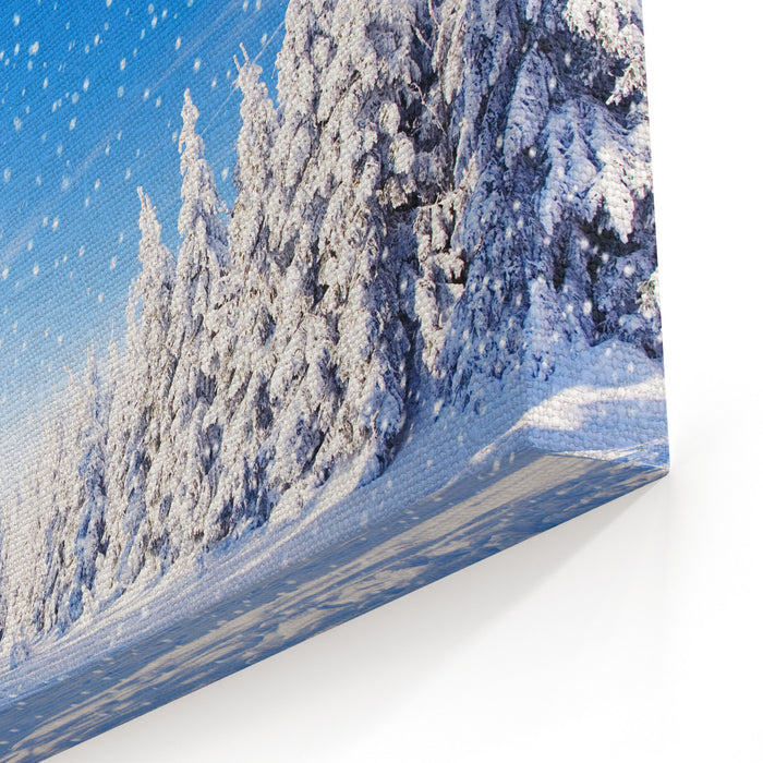 Snowfall In Amazing Winter Landscape With Sunshine And Blue Sky Canvas Wall Art Print