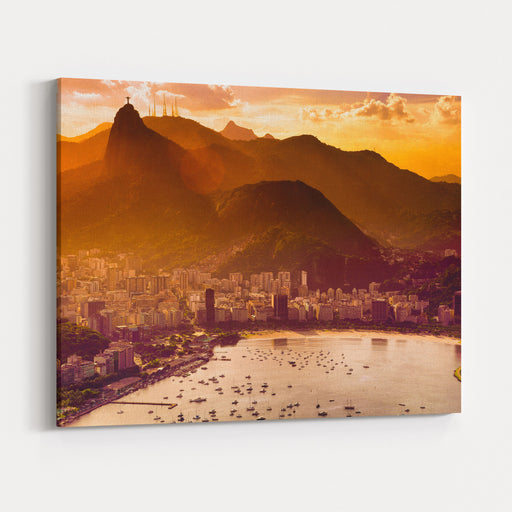 Aerial View Of Buildings On The Beach Front, Botafogo, Guanabara Bay, Rio De Janeiro, Brazil Canvas Wall Art Print