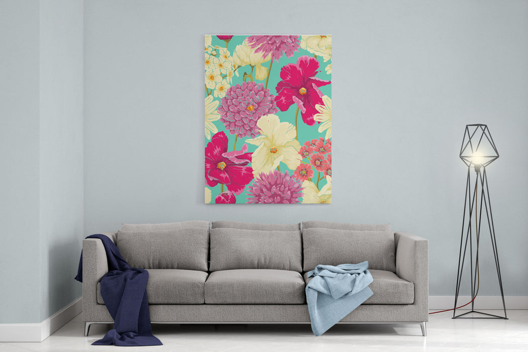 Floral Seamless Pattern With Flowers In Watercolor Style Canvas Wall Art Print