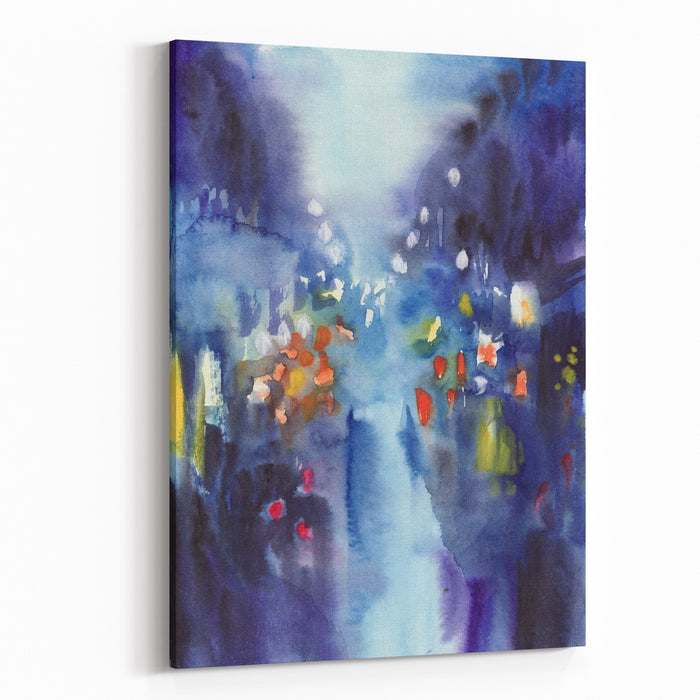 Original Watercolor Painting Of Night Rainy City With Multicolor Lights Canvas Wall Art Print