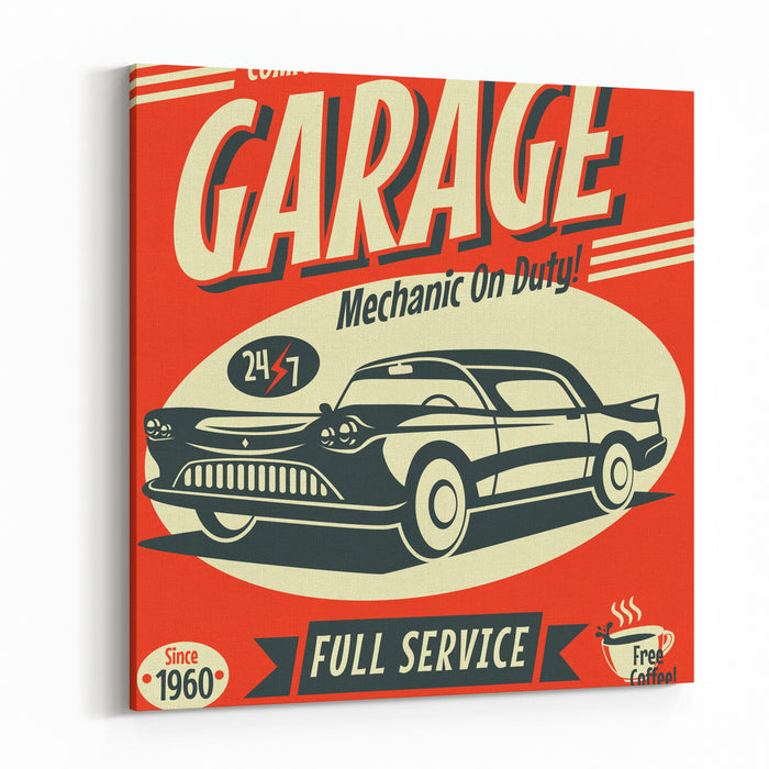 Retro Car Service Sign Vector Illustration Canvas Wall Art Print