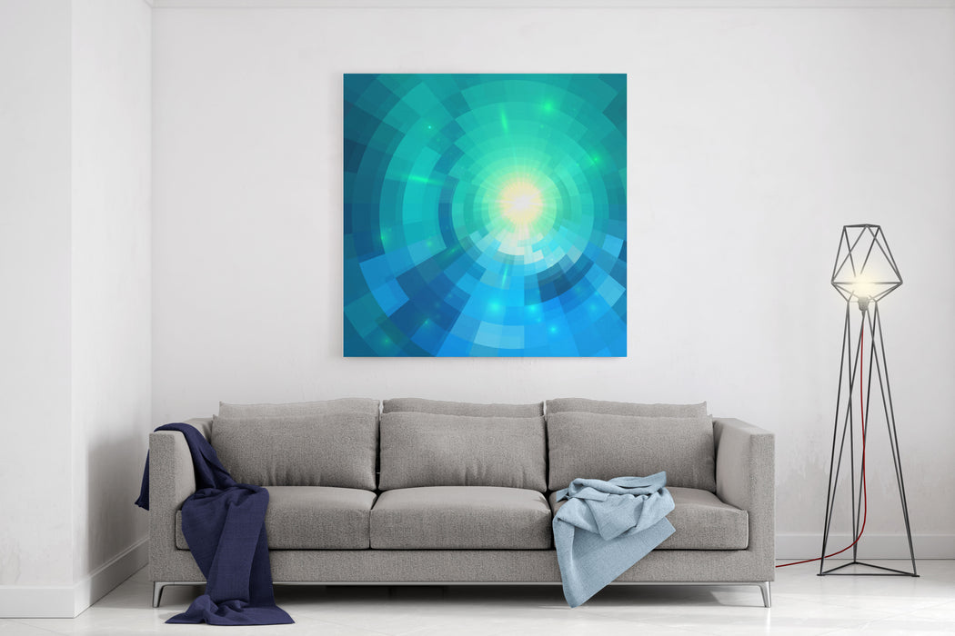 Abstract Blue Shining Circle Tunnel Vector Background Canvas Wall Art Print