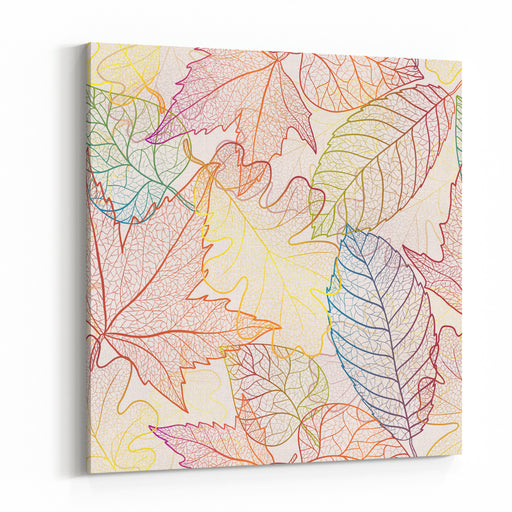 Autumn Transparent Maple Leaves Pattern Background Colored Art Vector Autumn Leaves Pattern  Fabric Texture Canvas Wall Art Print