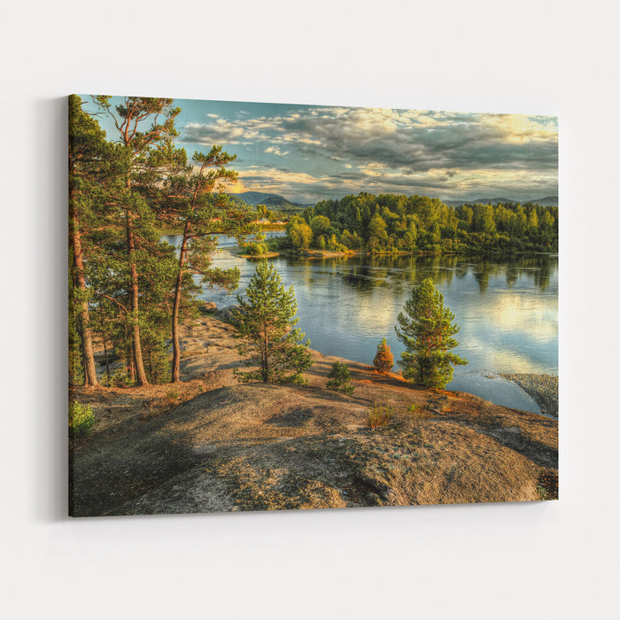 Coastline Of Biya River In Turochak Village Russia, Altay Republic Canvas Wall Art Print