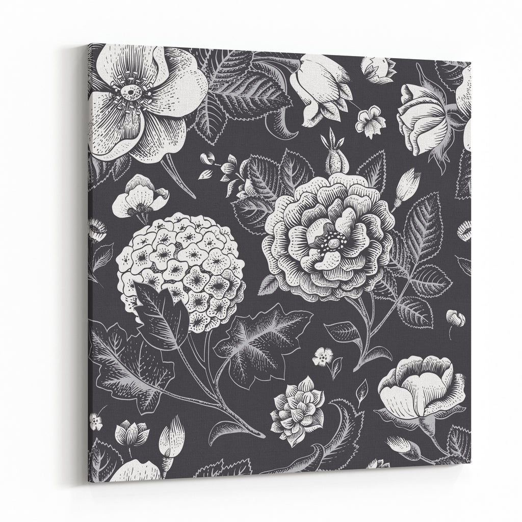 Beautiful Vintage Floral Seamless Pattern Garden Roses Hydrangea