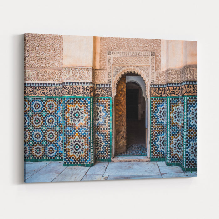 Beautiful Typical Moroccan Tiles  In The Medrassa Canvas Wall Art Print