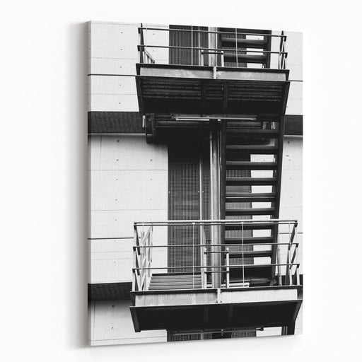 The Photograph Of A Square Fire Escape On A BuildingFire Escape Canvas Wall Art Print