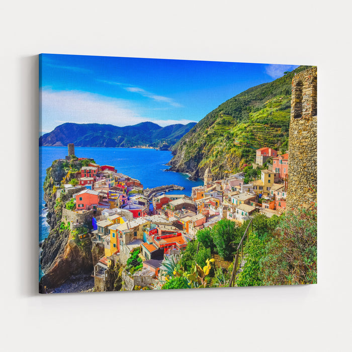 Scenic View Of Colorful Village Vernazza And Ocean Coast In Cinque Terre, Italy Canvas Wall Art Print