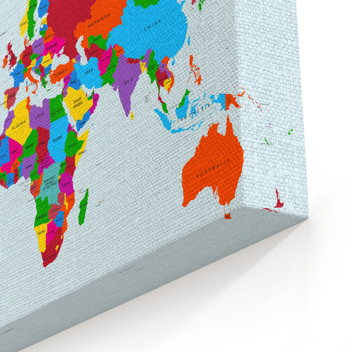 Colorful World Map Countries With Text Atlas EPS Vector File Organized In Layers For Easy Editing Canvas Wall Art Print