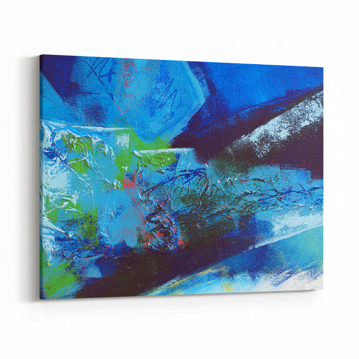 Abstract Painting In Collage And Acrylic Paint With Blue And Green Canvas Wall Art Print