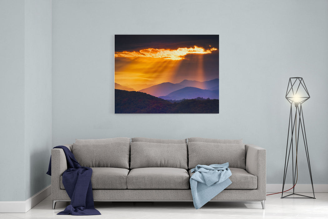 Colorful Autumn Sunrise Over The Smoky Mountains Canvas Wall Art Print