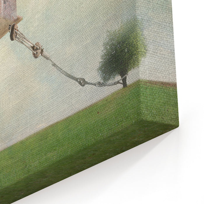 Artistic Image Representing An House Floating In The Air Tied To A Rope To The Tree In A Surreal Vintage Background Canvas Wall Art Print