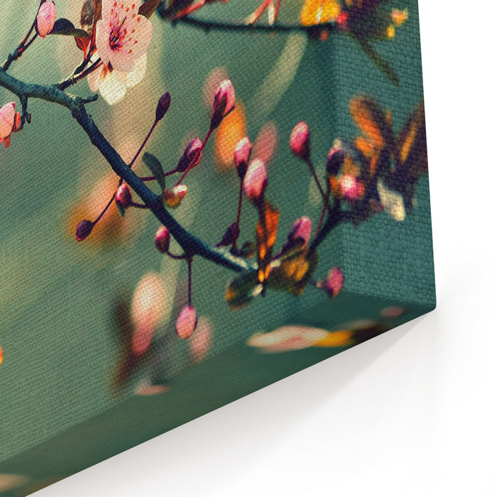 Beautiful Flowering Japanese Cherry  Sakura Background With Flowers On A Spring Day Canvas Wall Art Print