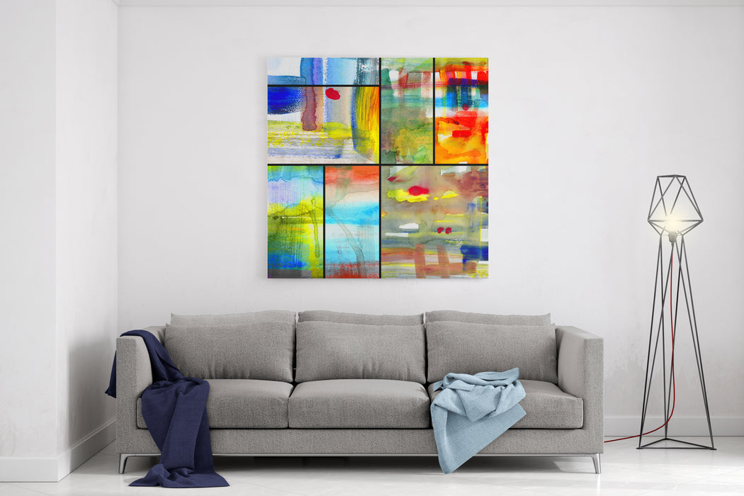 Abstract Art Collage, Mixed Media And Watercolor On Paper Canvas Wall Art Print