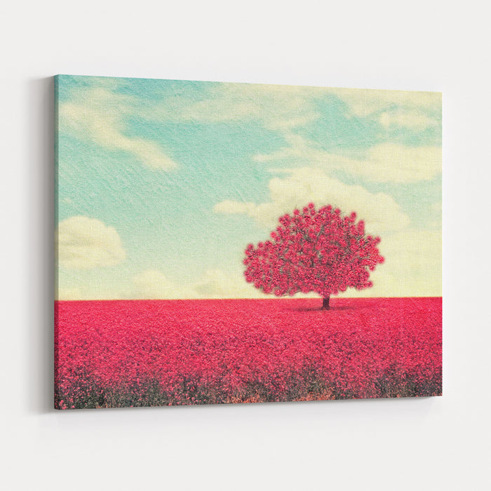 A Beautiful Tree In A Pretty Field Canvas Wall Art Print