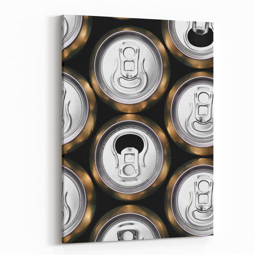 Much Of Yellow Drinking Cans Close Up Canvas Wall Art Print