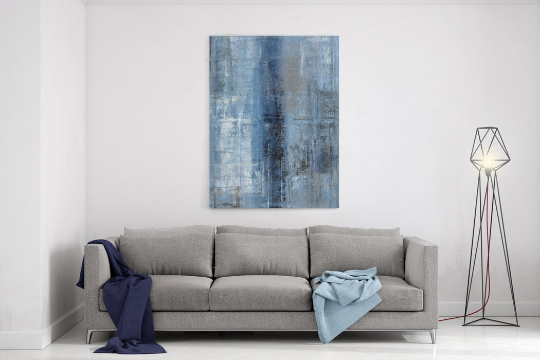 Blue And Grey Abstract Art Canvas Wall Art Print