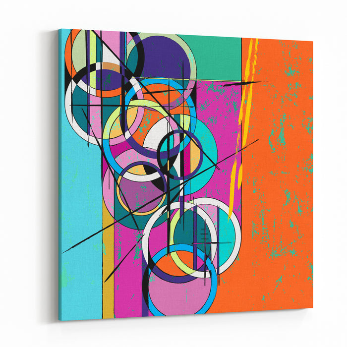 Abstract Circle Background, With Paint Strokes And Splashes, Retrovintage Style Canvas Wall Art Print
