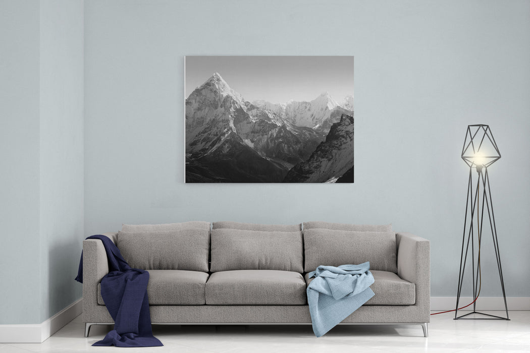 Spectacular Mountain Scenery On The Mount Everest Base Camp Trek Through The Himalaya, Nepal In Stunning Black And White Canvas Wall Art Print