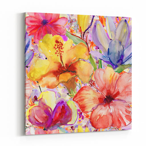 Abstract Watercolor Hand Painted Backgrounds With Magnolia,  Hibiscus AndOrchid Canvas Wall Art Print