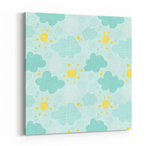 Kids Seamless Pattern Clouds And Sun Canvas Wall Art Print