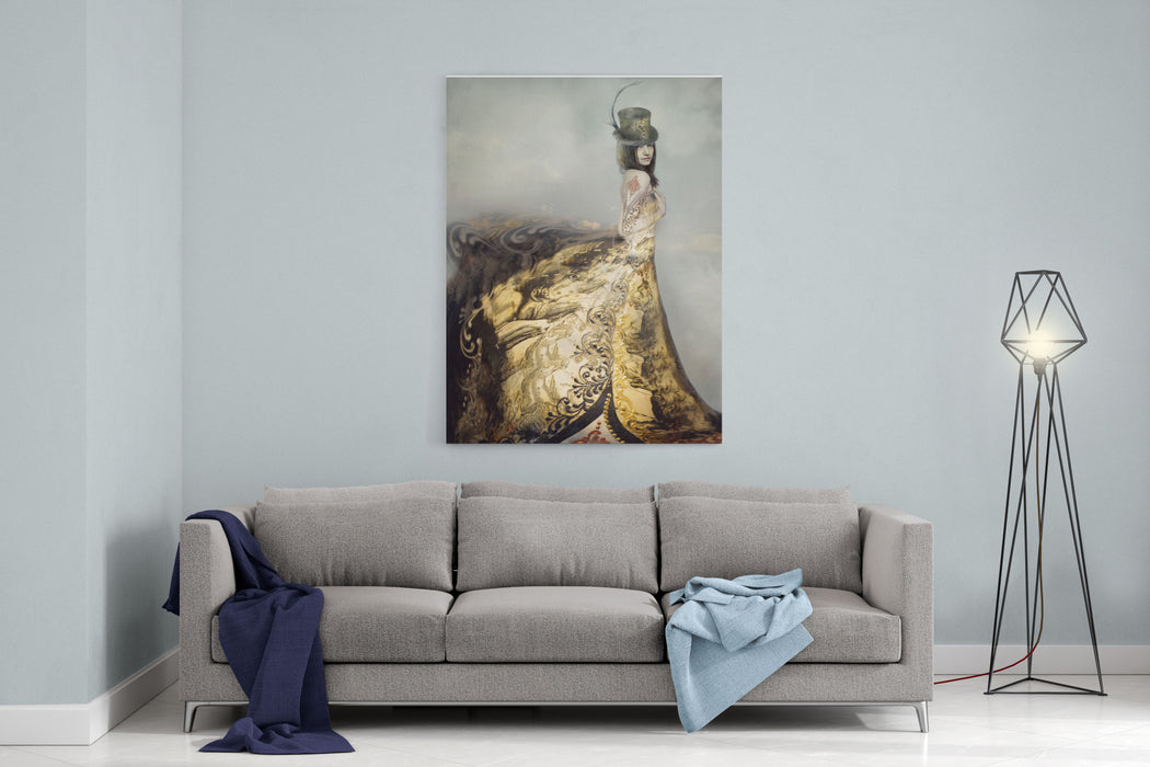 Beautiful Artistic Portrait Of An Extravagant Lady In An Eighteen Century Style Dress And Cylinder With Clouds In The Background Canvas Wall Art Print