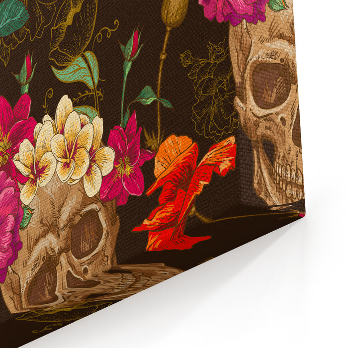 Skull And Flowers Seamless Background Canvas Wall Art Print