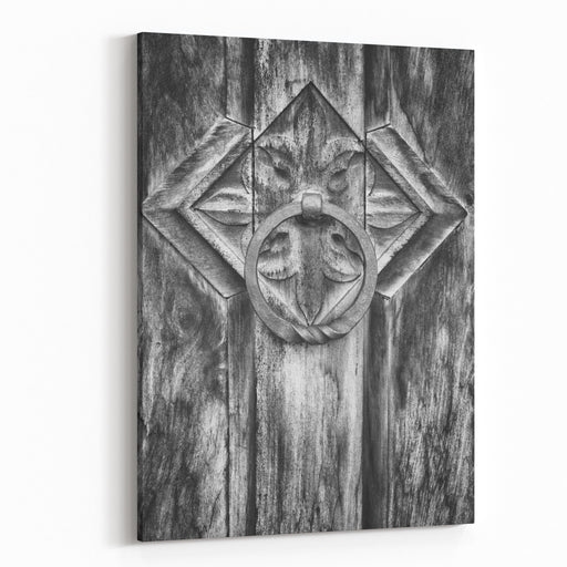 Old Doorknocker At A Historic Building Canvas Wall Art Print