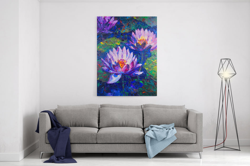 Oil Painting Of Beautiful Lotus Flower Canvas Wall Art Print