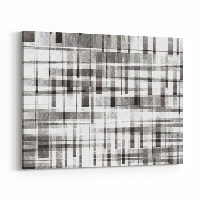 Gray And White Texture With Strips Grey And White Background Patterned Illustration Vintage Pattern Canvas Wall Art Print