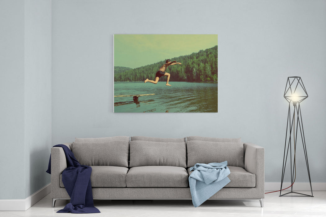 Boy Jumping In Lake At Summer Vacations  Vintage Retro Style Canvas Wall Art Print