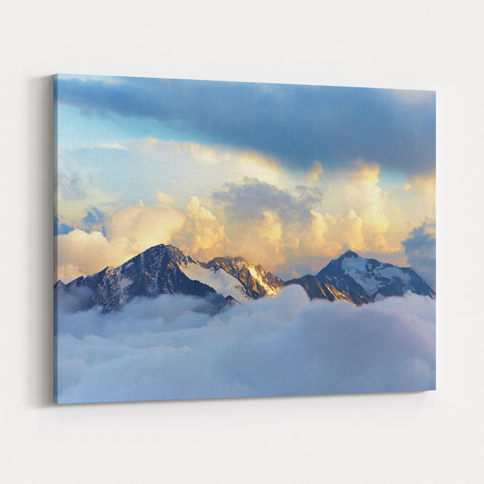 Alpine Landscape With Peaks Covered By Snow And Clouds Canvas Wall Art Print